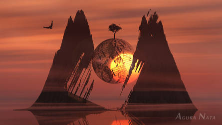Abstract sunset render