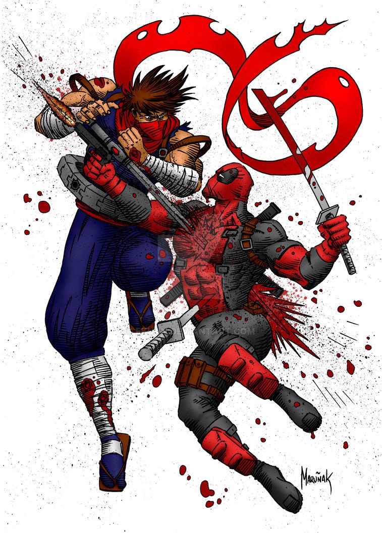 Deadpool vs Strider Hiryu by ekuan