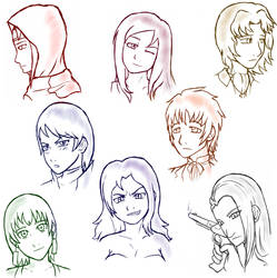 Oc Sketch Dump (Commission) by Pink--Reptile