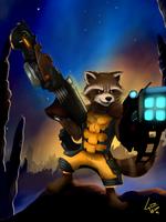 Rocket Raccoon Attack by lobowupp