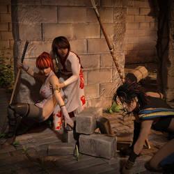 Kasumi, Yuna and Fang vs Krampus (Alternate Focus) by Ryselle-Ryssa