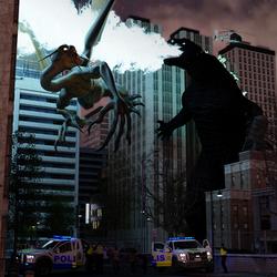 Godzilla vs Jabberwocky by Ryselle-Ryssa