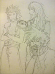 Cloud, Zack, and Warrior of Light-friends forever