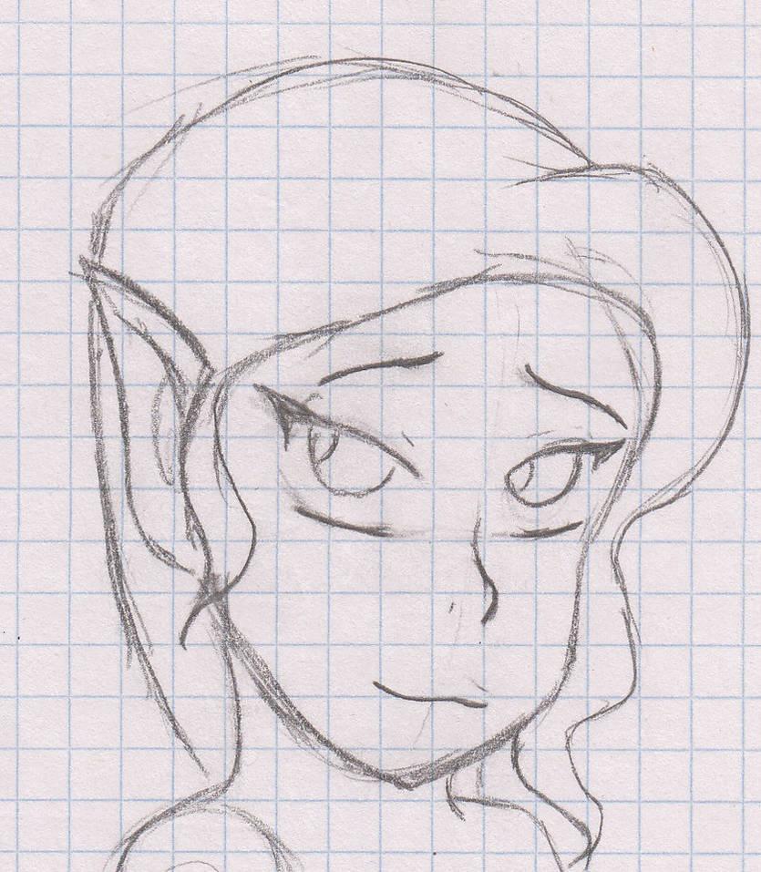 Shy elf sketch by GuldeDK