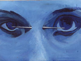 bridge piercing in blue