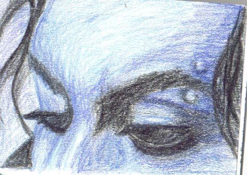 eyebrow piercing in blue