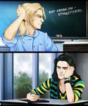 Thor x Loki College AU.