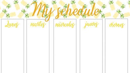 Mi horario/my schedule pineapple printable