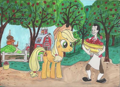 Applejack meets Johnny Appleseed