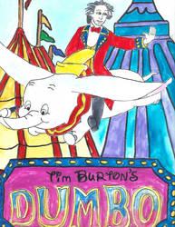 Tim Burton rideing Dumbo by merrittwilson