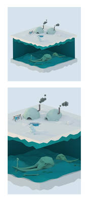 Low poly iglo scene