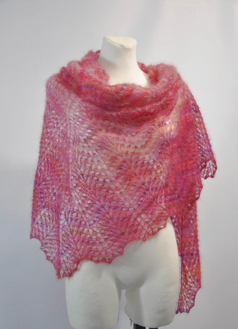 Free Knitting Pattern For Mohair Shawl : Pink hand knitted kid mohair and silk lace shawl by NitkaAG on DeviantArt