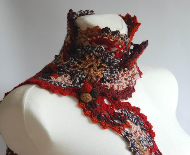 Patchwork - multicolor crochet lace scarf by NitkaAG