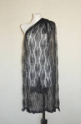 Anthracite hand knit lace shawl with glass beads