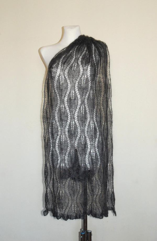 Anthracite hand knit lace shawl with glass beads by NitkaAG