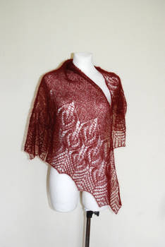 Hand knit shawl in rust red