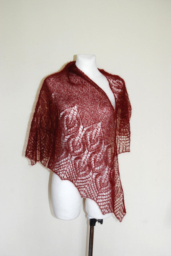 Hand knit shawl in rust red by NitkaAG