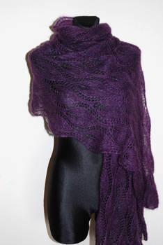 Purple hand knit lace shawl with glass beads