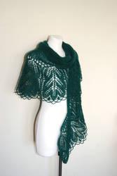 Emerald Hand Knit Lace Shawl