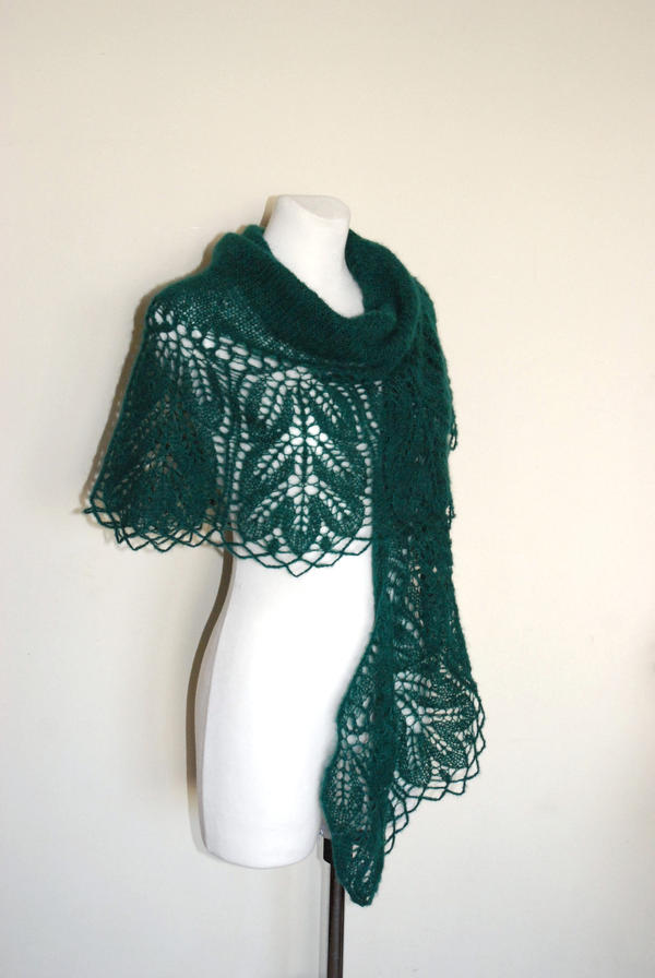 Emerald Hand Knit Lace Shawl by NitkaAG