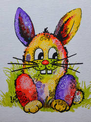 Colorful Easter Bunny by yvonnelamberty