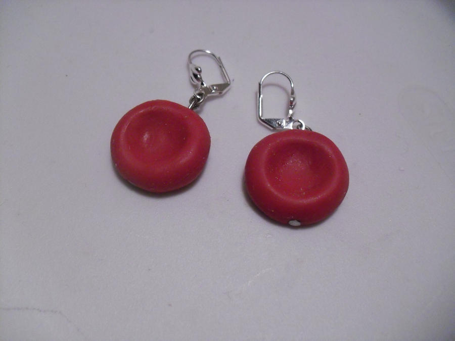 Red Blood Cell Earrings by illcoveryouwjh