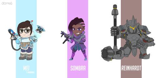 Overwatch - Mei, Sombra, Reinhardt
