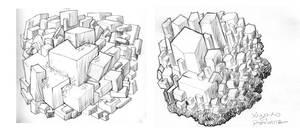 quartz and fluorite crystals