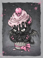 Devil Kitty Cupcake by aleksandracupcake