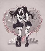 Bunny and Kitty by aleksandracupcake