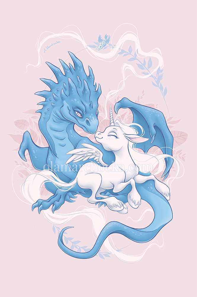 Dragon and Unicorn - Unlikely Couple by aleksandracupcake