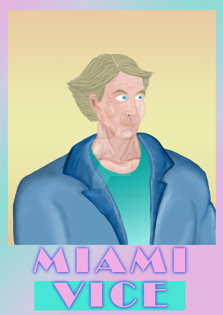 Miami Vice- Don Johnson Portrait by ArteDigitalSA