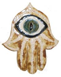 Gold Hamsa With Green Cat's Eye by aberrantceramics
