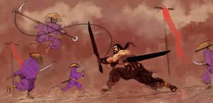 Ninjas attack Shogan in the Arena