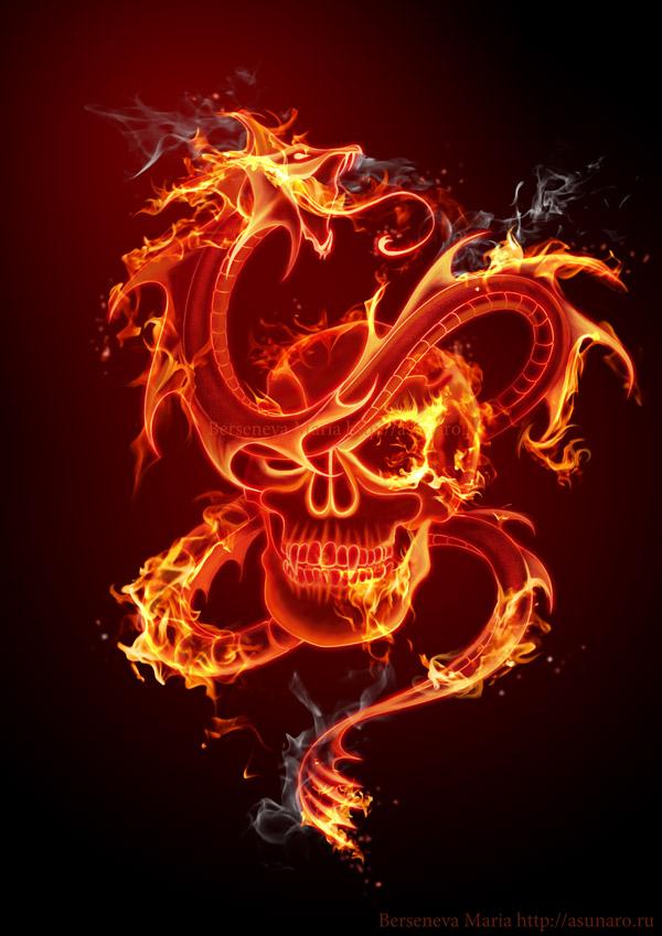 fire skull by asunaro on deviantart