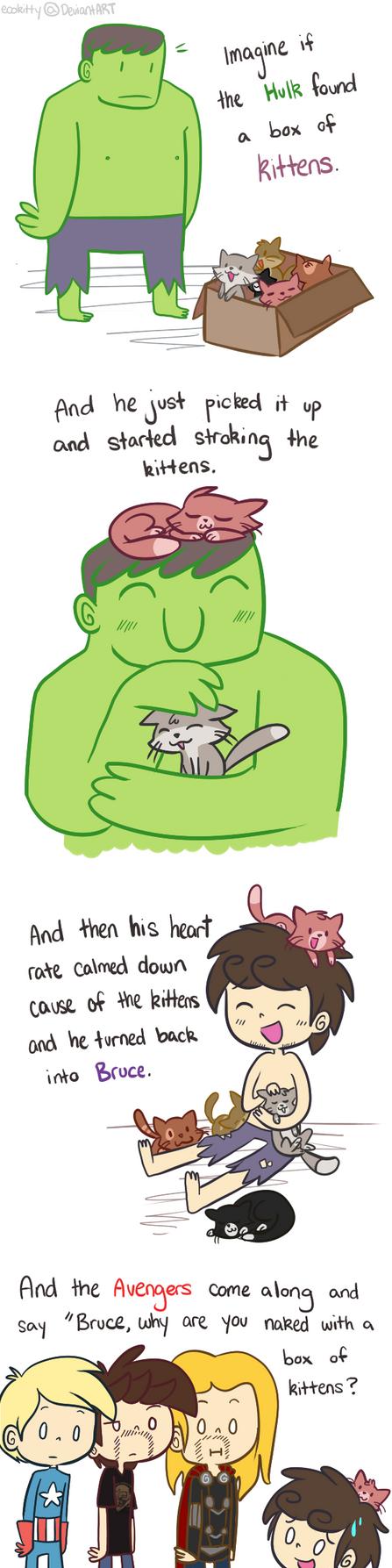 Avengers: Hulk and Kittens by ecokitty