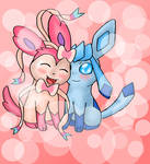 Sylveon and Glaceon by ICEDRAGON164