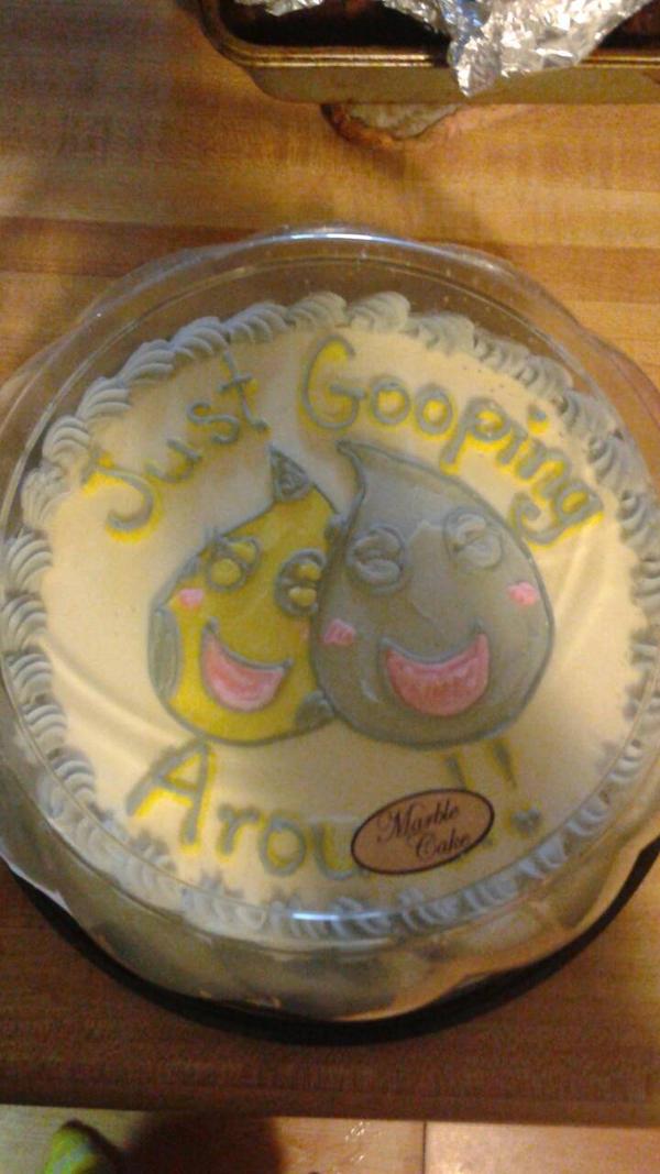 Just gooping around - anniversary cake by Tibby-san