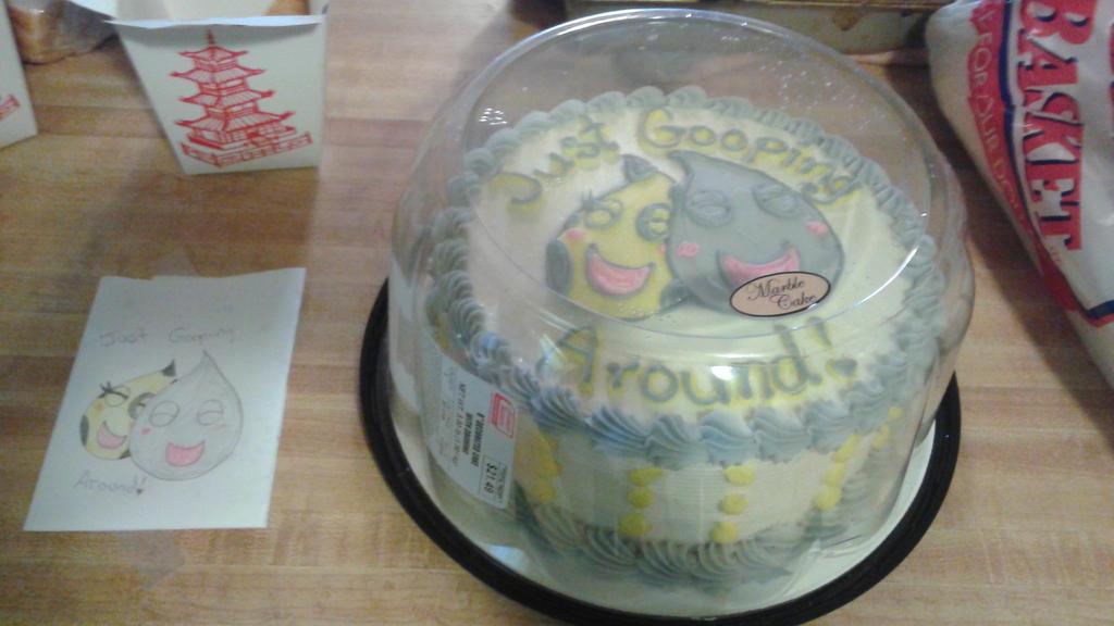 Just gooping around - anniversary cake 2 by Tibby-san
