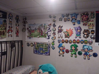 Pokemon-Moemon Perler wall (Update) by Tibby-san