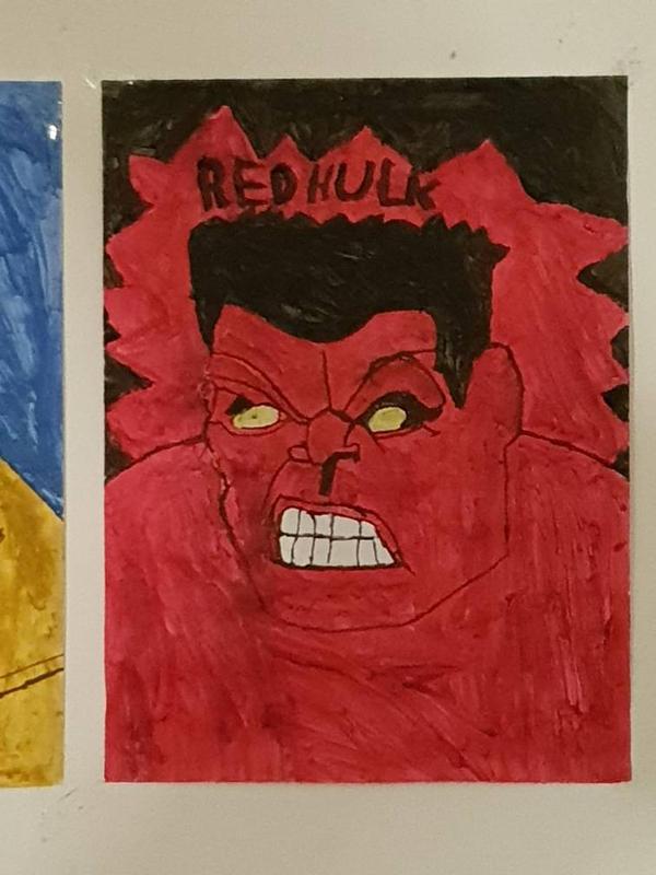 My paintings of Red Hulk. by TheBoyNamedMuzaffer