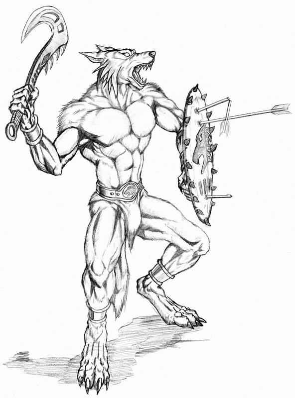 Werewolf warrior with shield by WolfLSI