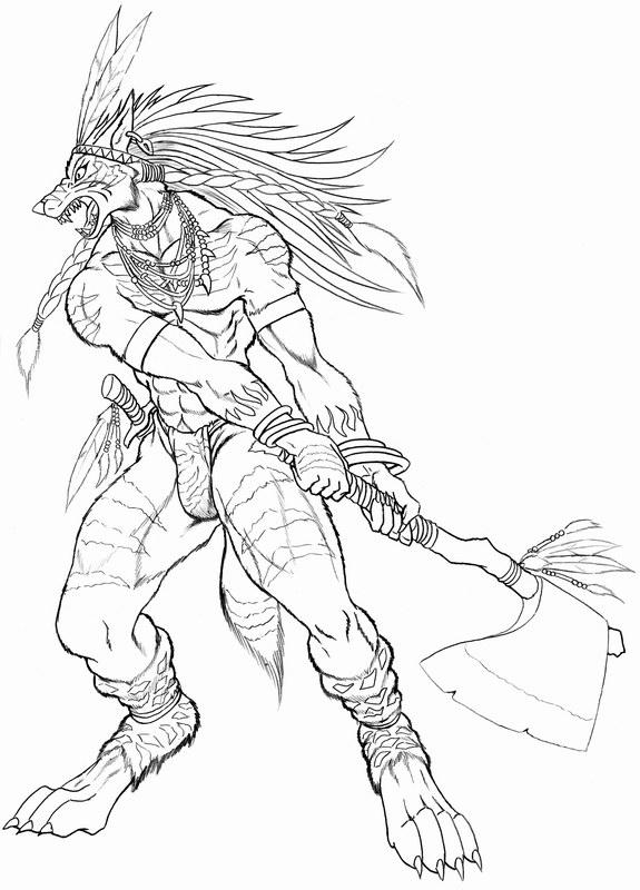 Native werewolf axe fighter by WolfLSI