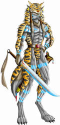 Warrior with tiger skin by WolfLSI