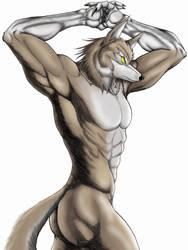 Nude werewolf poser by WolfLSI