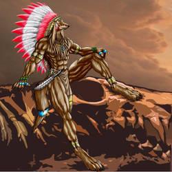Native werewolf chief by WolfLSI