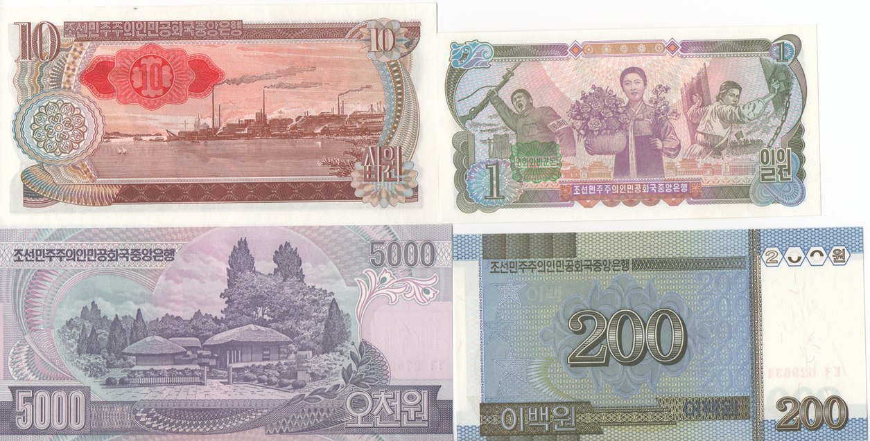 Various banknotes from the DPRK (North Korea) (2B) by Kdick0987654321