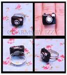 Kitsch black camera ring polymer clay