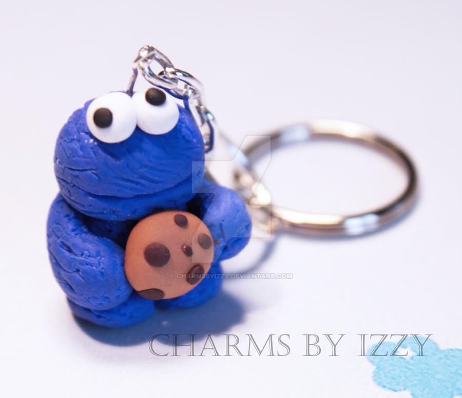 Cookie Monster Chibi Charm With Keychain Extension By Charmsbyizzy