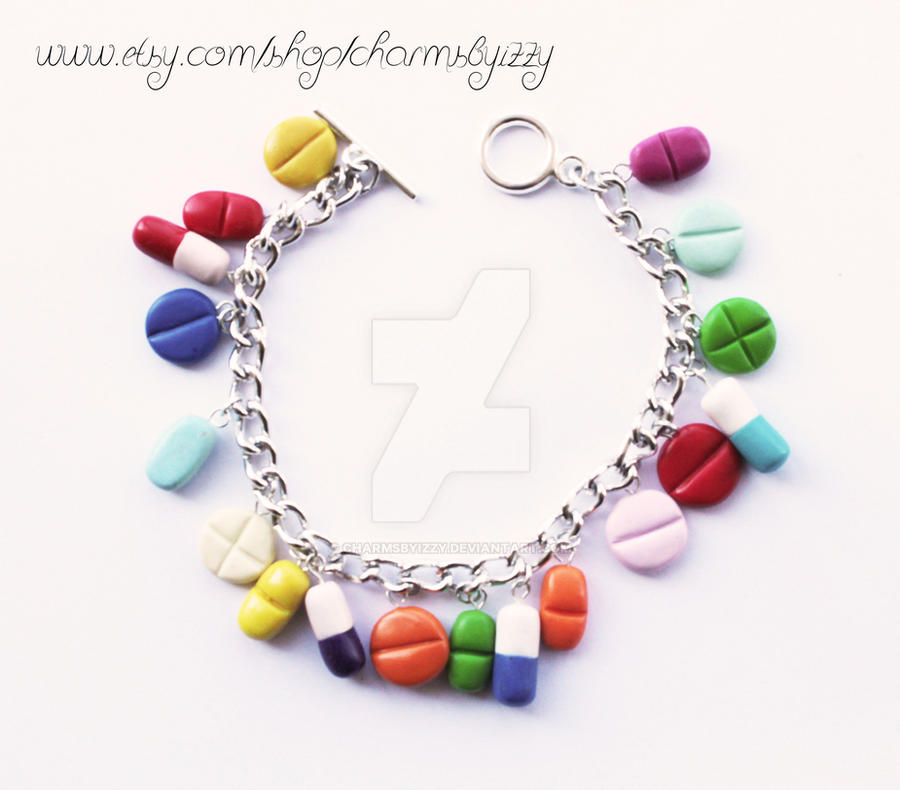 Polymer Clay Charm Bracelet: Kitsch Colourful Pill Polymer Clay Charm Bracelet By